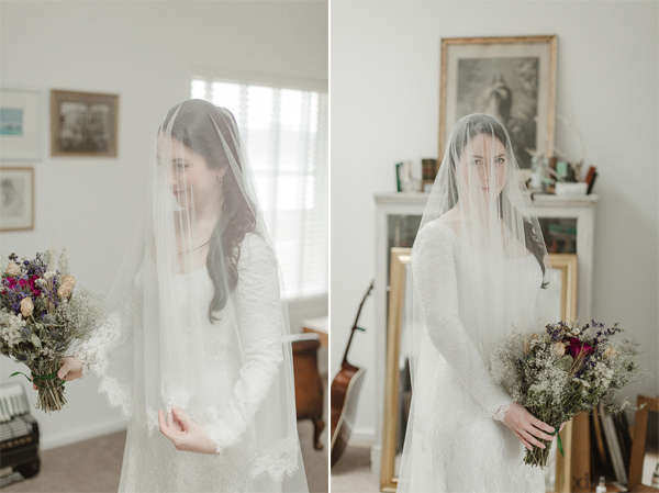 bride putting her veil over