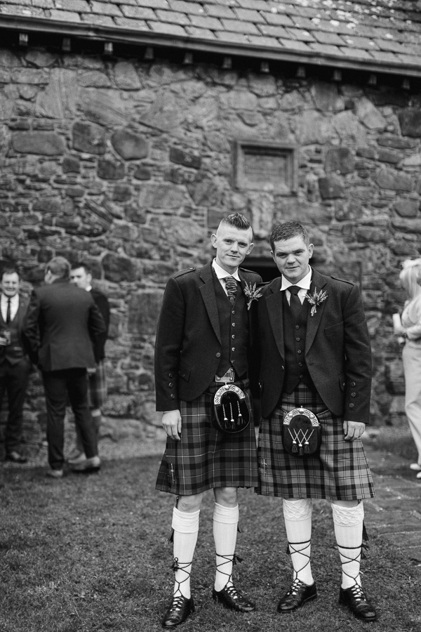 groom and his best men at isle of harris wedding