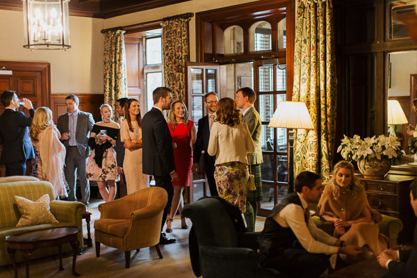 wedding guests chatting at cromlix house
