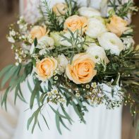 bride holding flower cromlix wedding scotland