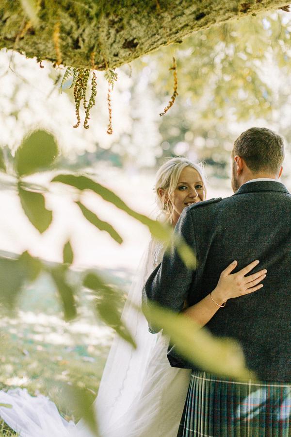 bride in the garden loch lomond