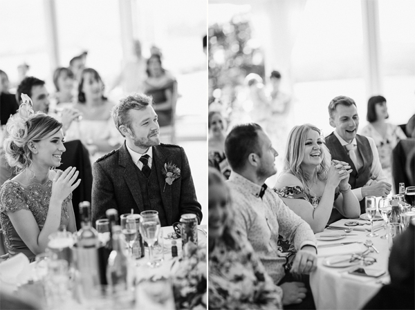 black and white portraits of the guests at the wedding loch lomonch