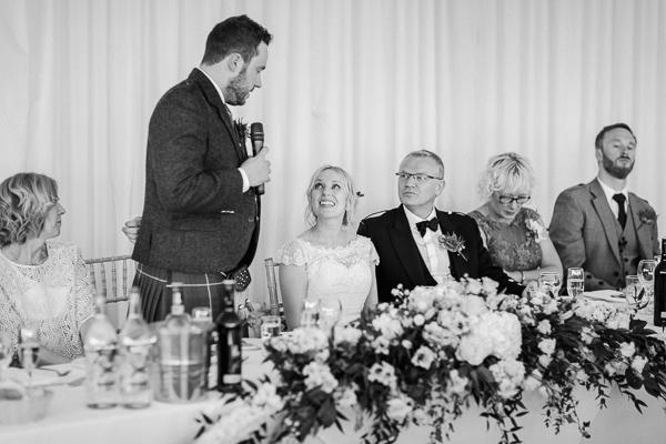 grooms speech at the wedding loch lomond