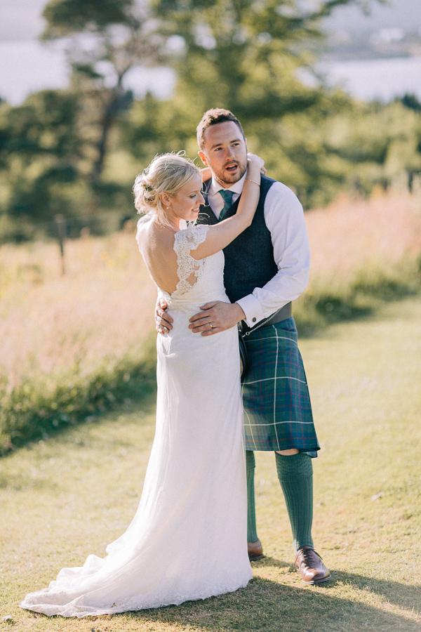 bride and a groom loch lomond