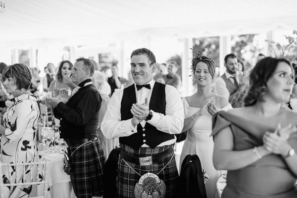 guests welcoming bride and groom loch lomond