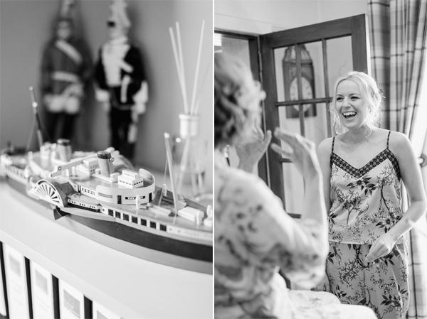 bride smiling at parents house
