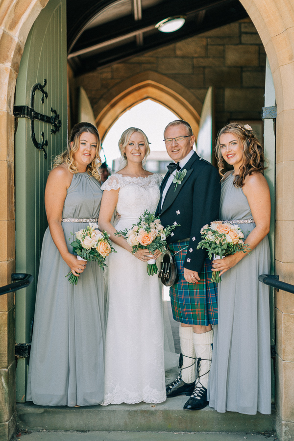 bridal party at the church in helensburgh
