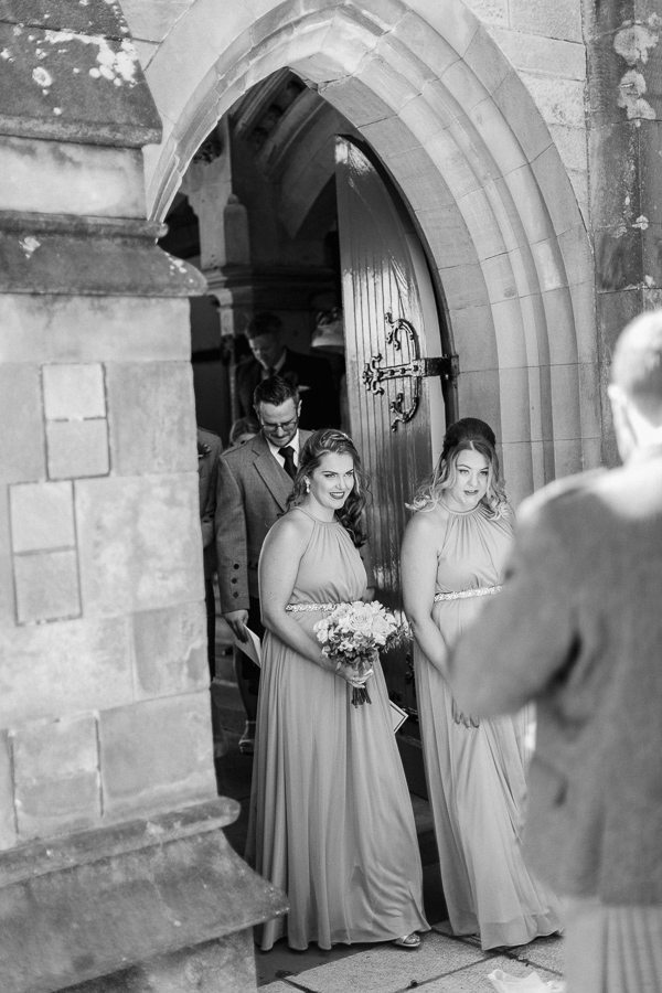 bridesmaids outside of the church in helensburgh