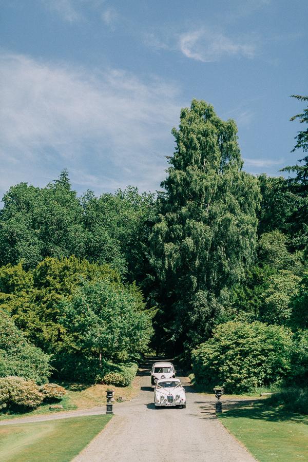 wedding cars arriving at the boturich castle