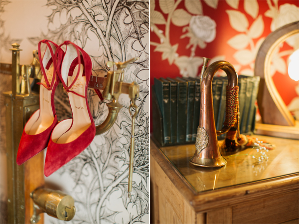 red wedding shoes and detail and the lodge on loch goil wedding