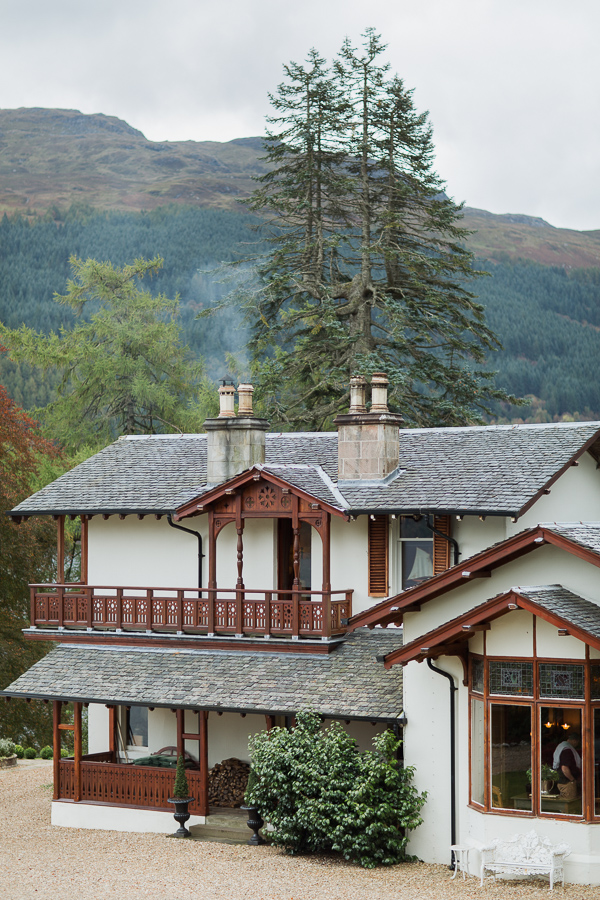 the main house at the lodge on loch goil wedding