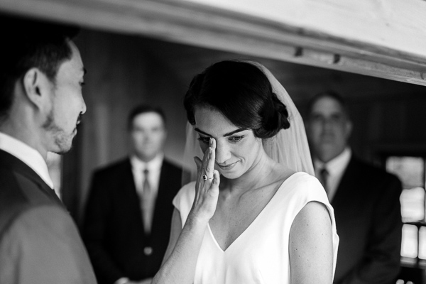 bride emotional during ceremony