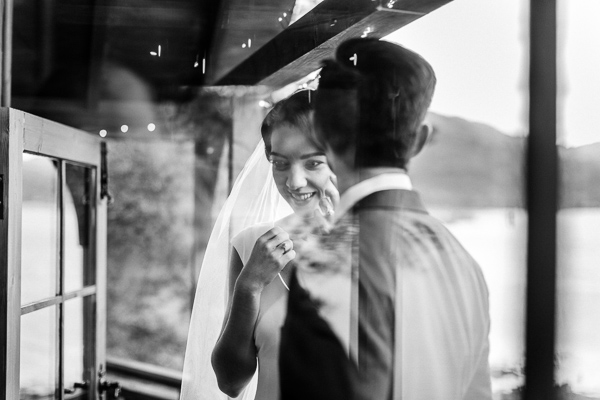 bride and groom view from window loch goil