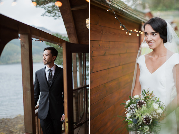 single portraits of groom and bride