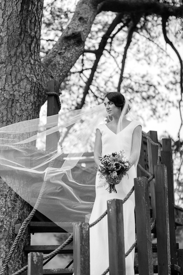 bride with veil raised portrait