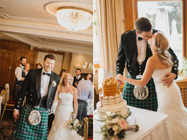 bride and groom walking in and cutting wedding cake