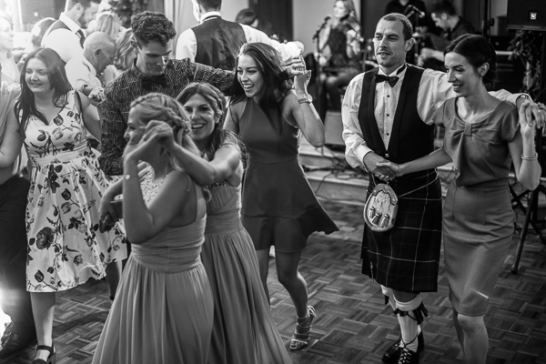 guests dancing at a scottish wedding