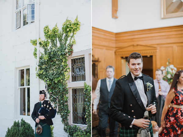 piper playing outside hotel and groom just before ceremony