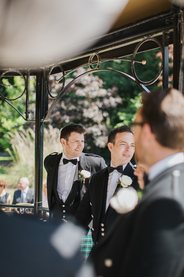 groom waiting for the bride outside ceremony at lochgreen hotel