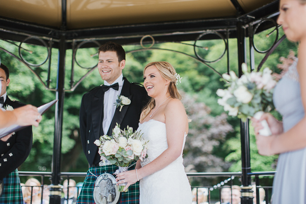 wedding ceremony in ayrshire bride and groom laughing