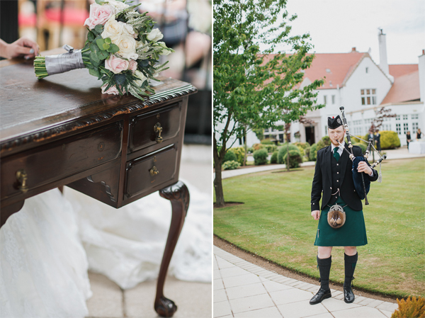 flower and piper at wedding in scotland