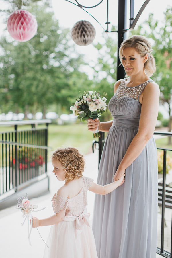 bridesmate with flower girl