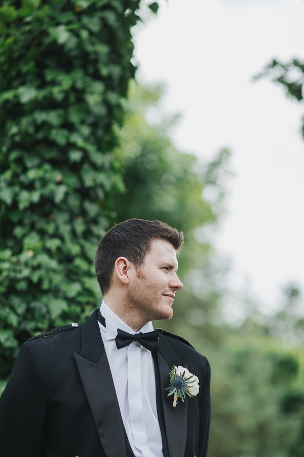 groom portrait at wedding in ayrshire