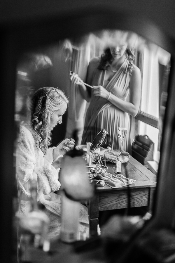 bride getting ready at the lodge on loch goil