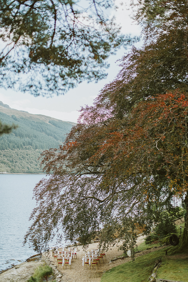 wedding cerremony setup with a view on loch goil
