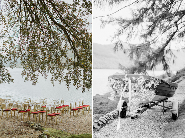 chairs set for a wedding ceremony by loch goil