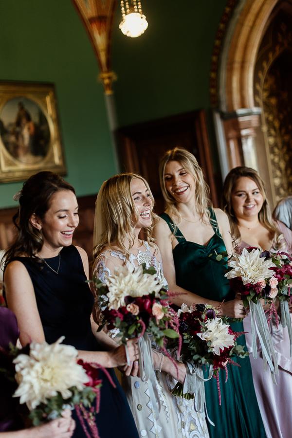 bride laughing with friends mount stuart