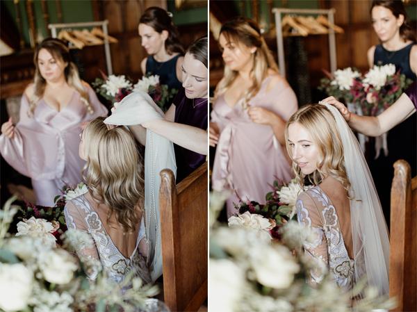 fixing veil before ceremony