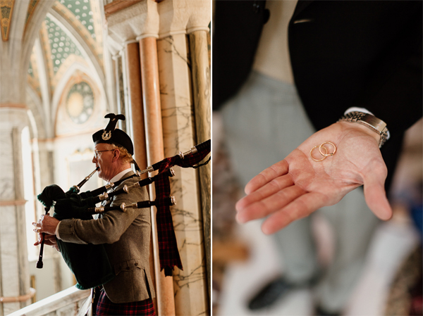 scottish piper on wedding and rings