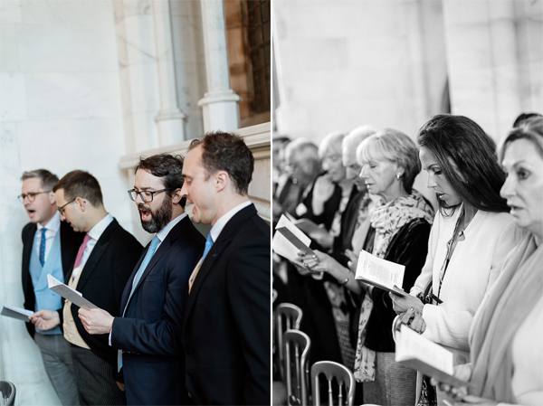 guests singing at chapel ceremony