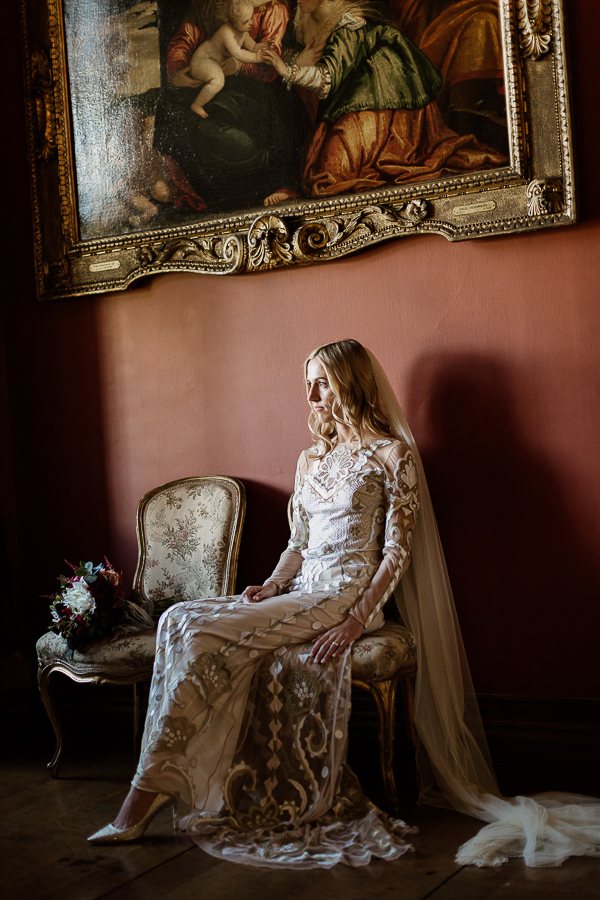 bride in drawing room at mount stuart on isle of bute