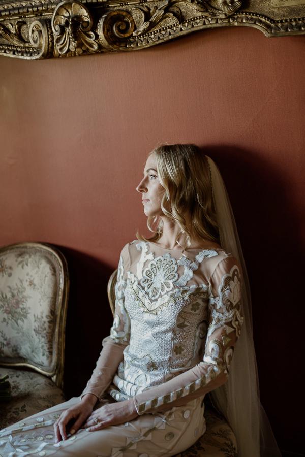 portrait of a blond bride in oriental dress