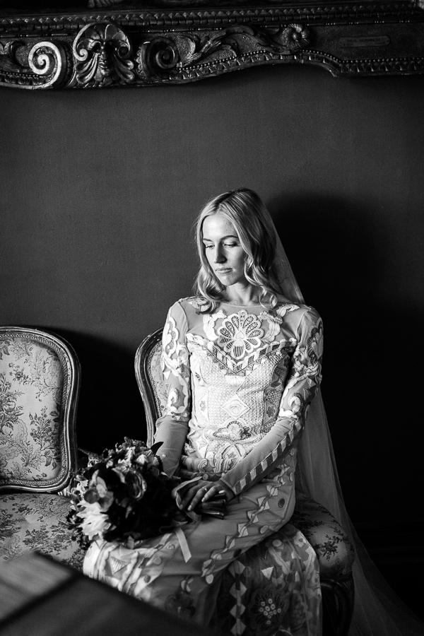 newlywed girl looking at flowers