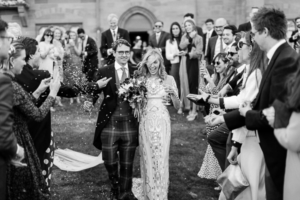 bride and groom at mount stuart confetti