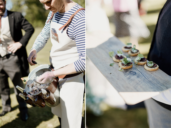scottish oysters and canapes at wedding reception
