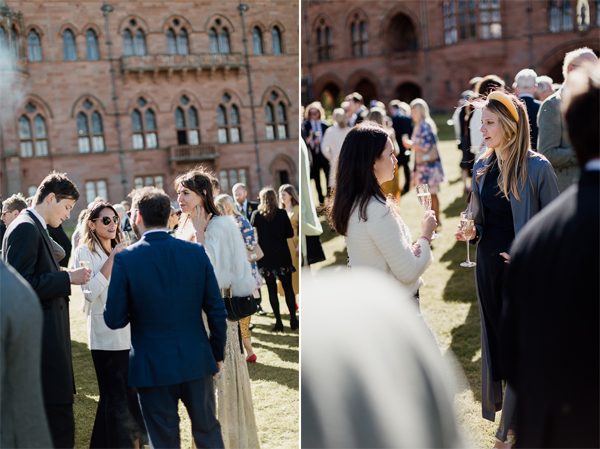 guests chating on lawn at wedding reception