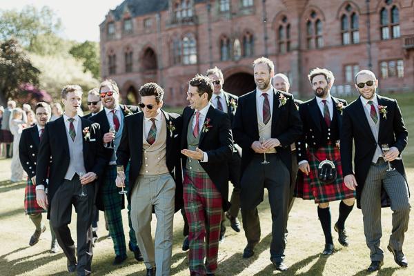 groomsmen walking tartan