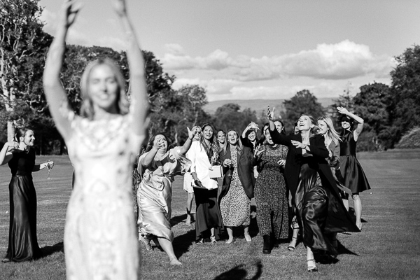flowers tossing at wedding in scotland