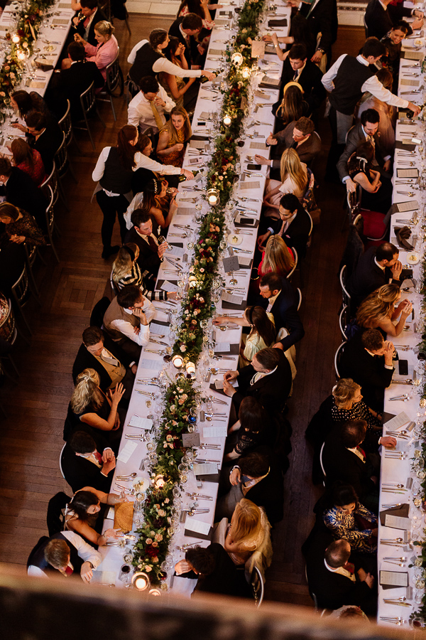 wedding reception long tables