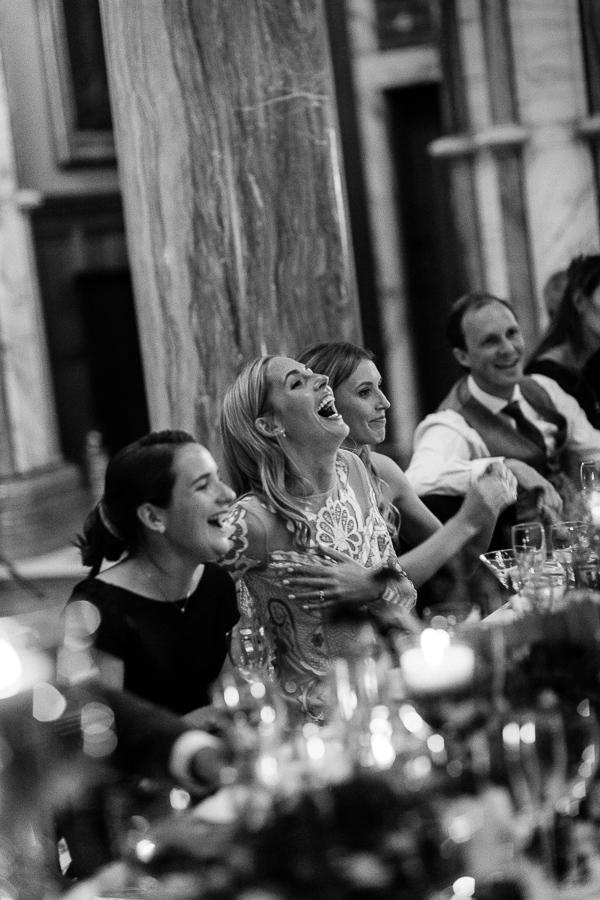 bride laughing at mount stuart wedding speeches