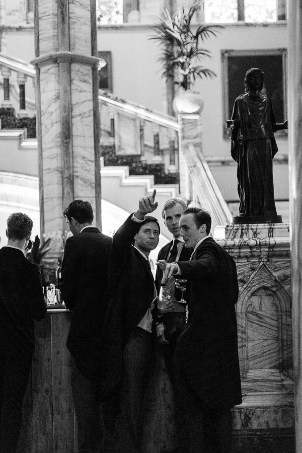 guests at bar during wedding