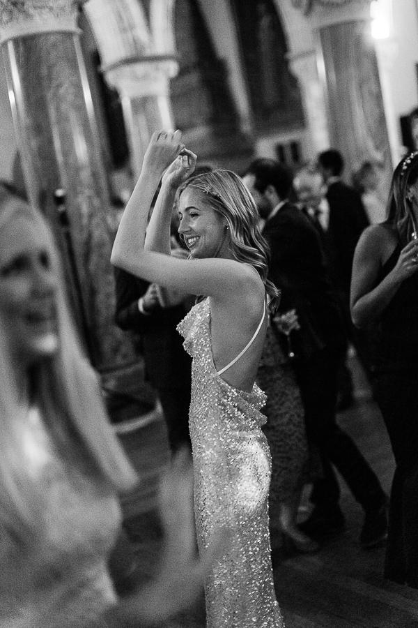 bride having good time at evening reception