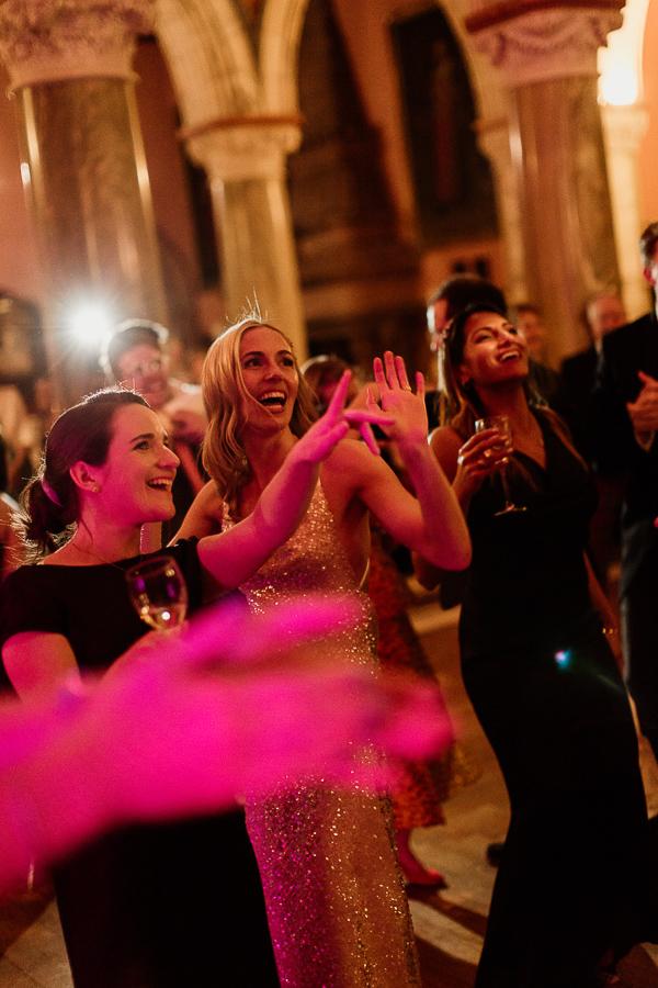 girls dancing at evening wedding reception