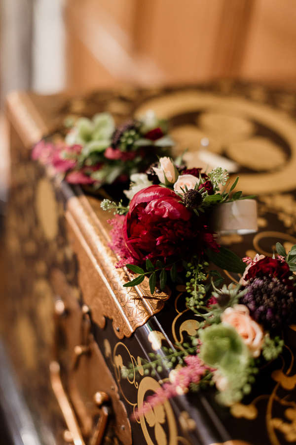 flowers on antique chest