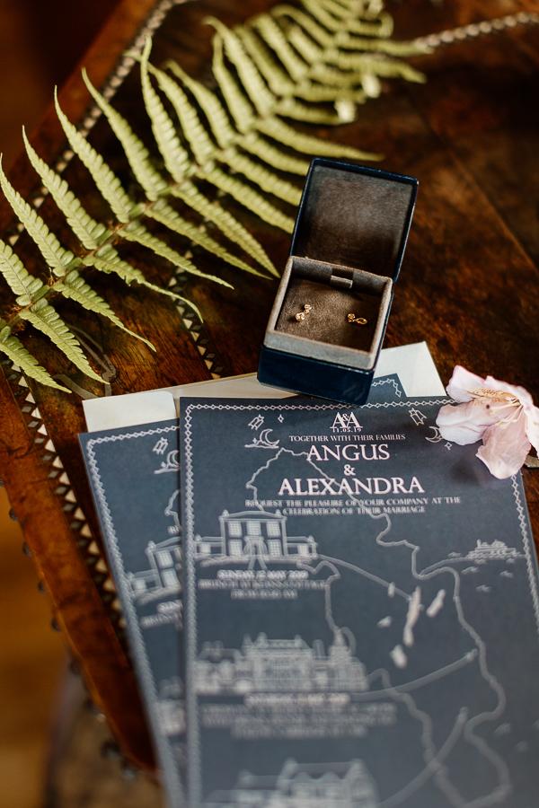 invitation to a wedding at mount stuart earings