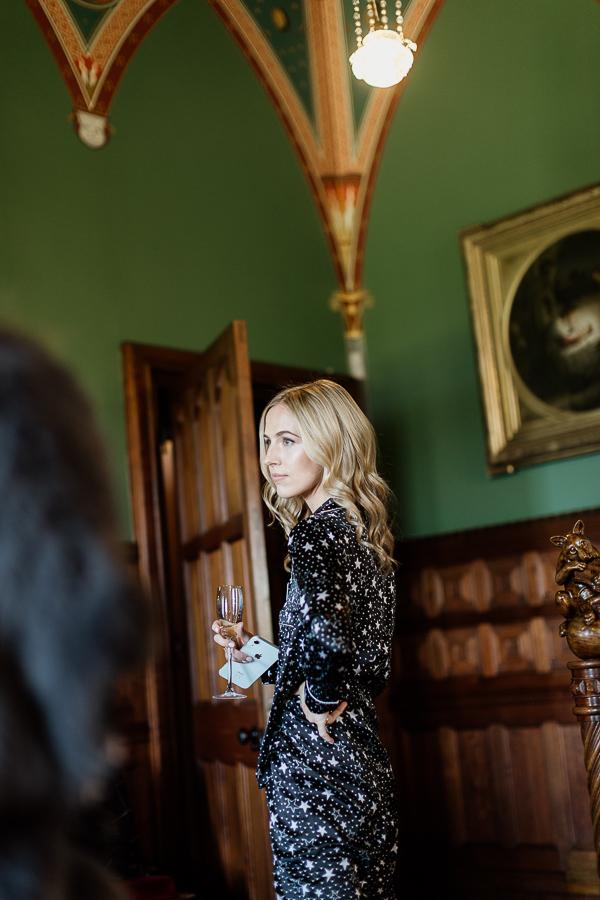 bride drinking champaign scotland